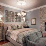 Декоративный камень в интерьере спальни - фото (3)