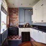 Дизайн стен в кухне-лофт - фото