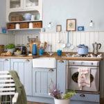 Дощатый пол на кухне в стиле прованс