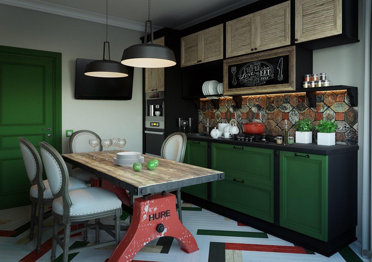 Зеленый цвет в интерьере кухни в стиле лофт