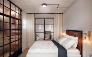 Зонирование спальни в стиле лофт внутренним окном