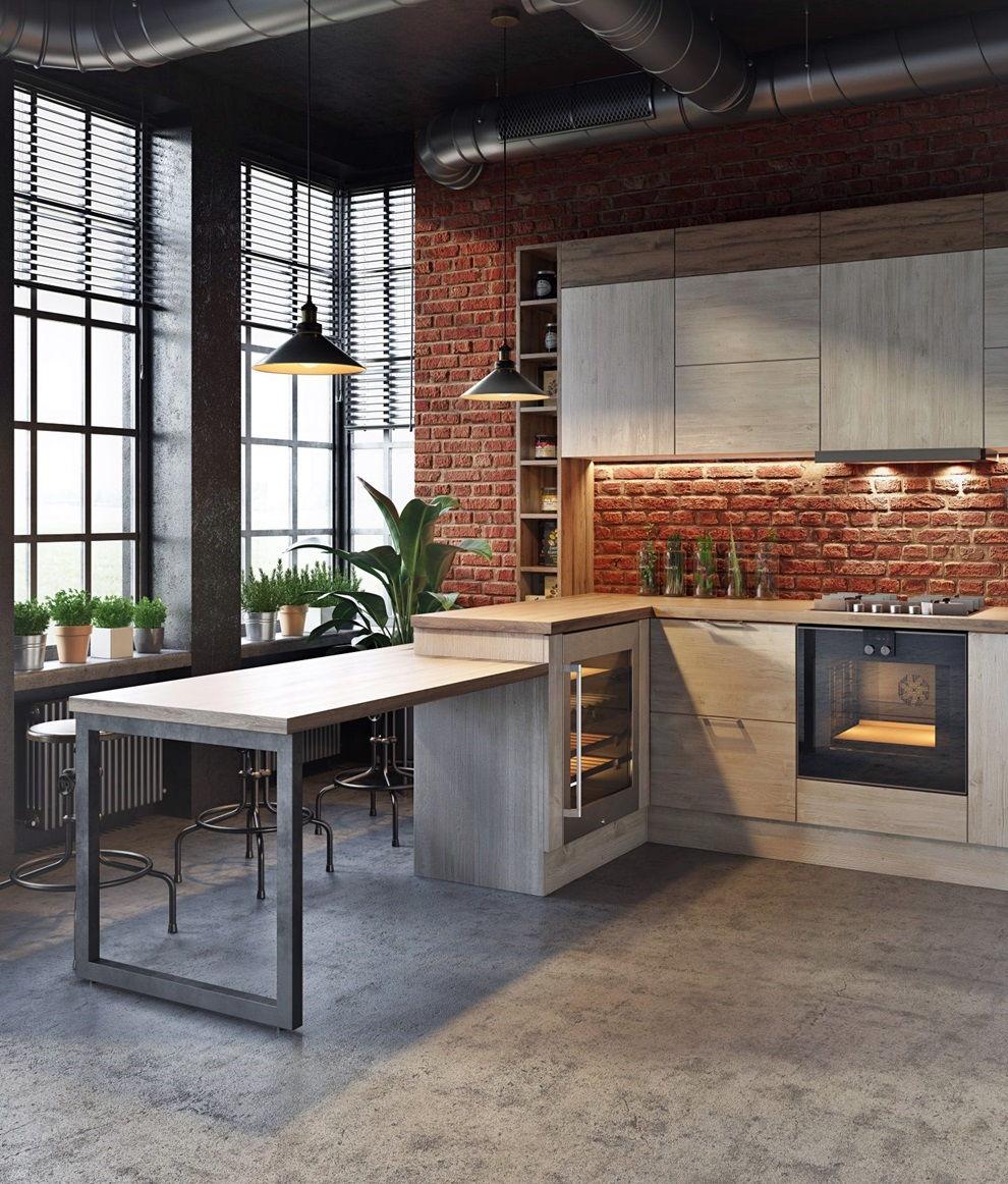 кухня в стиле лофт примеры дизайна 110 фото Rehouz