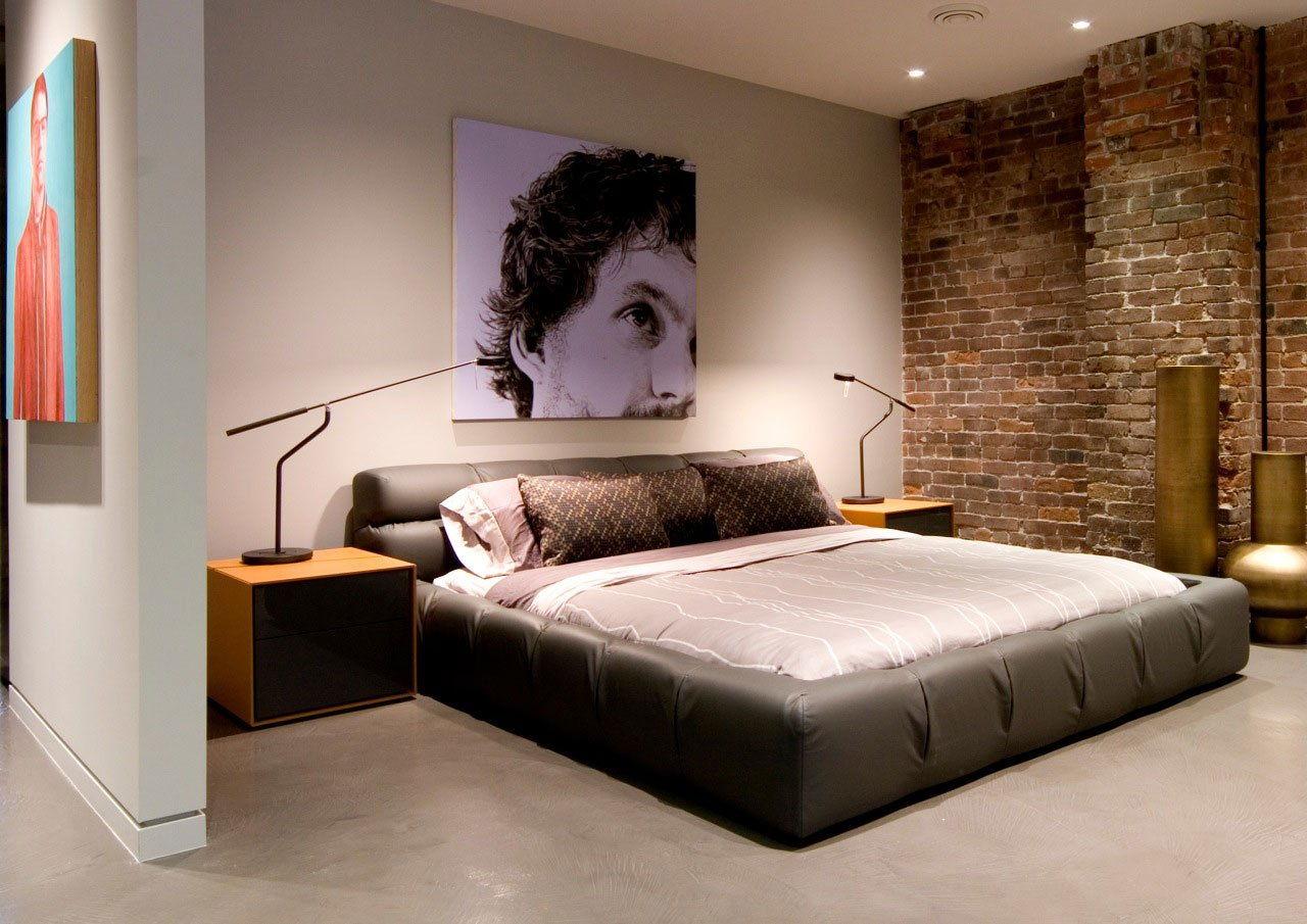 Искусственное освещение спальни в стиле лофт