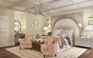 Кессонный потолок для спальни в стиле прованс