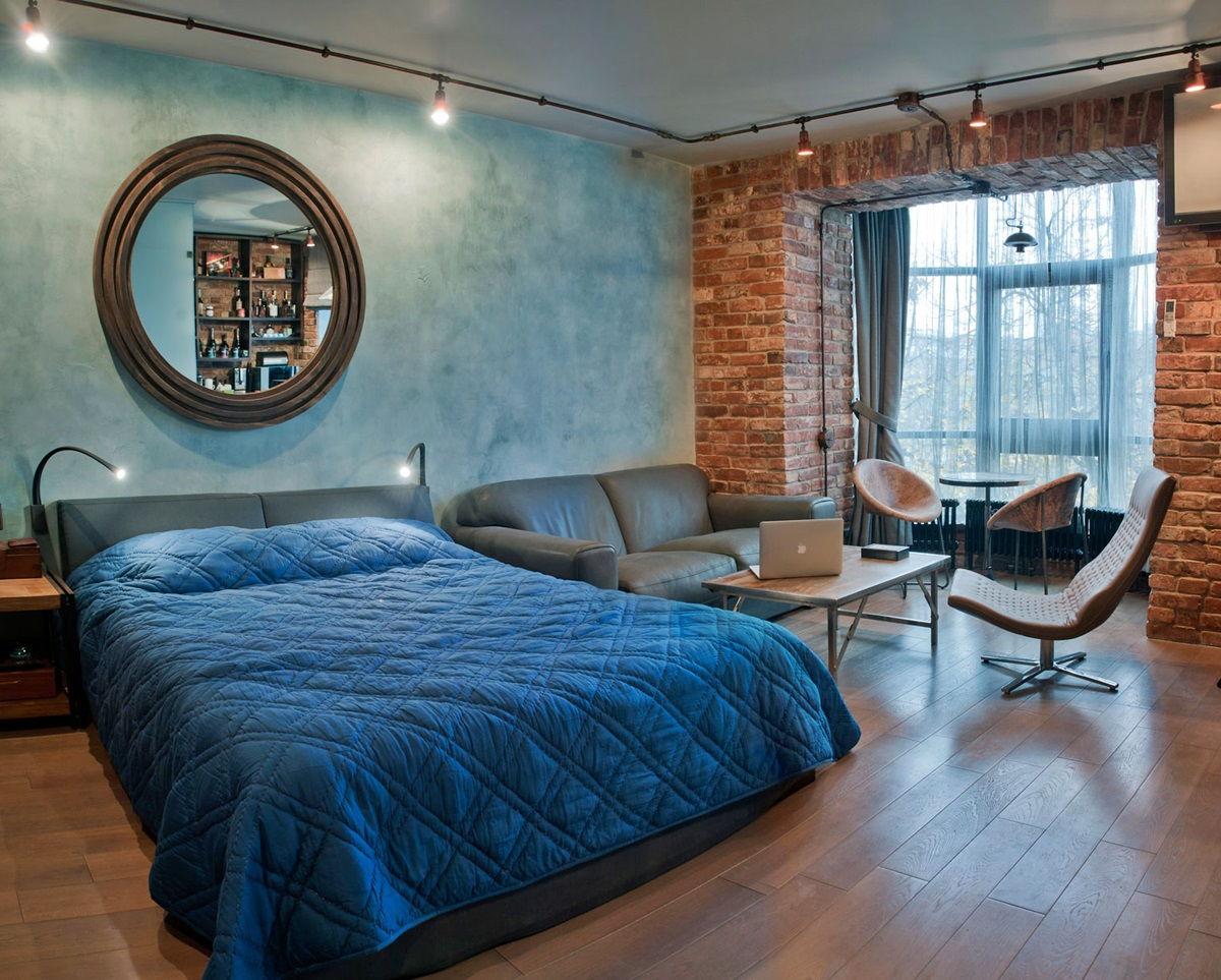 Кровать в лофт-спальне