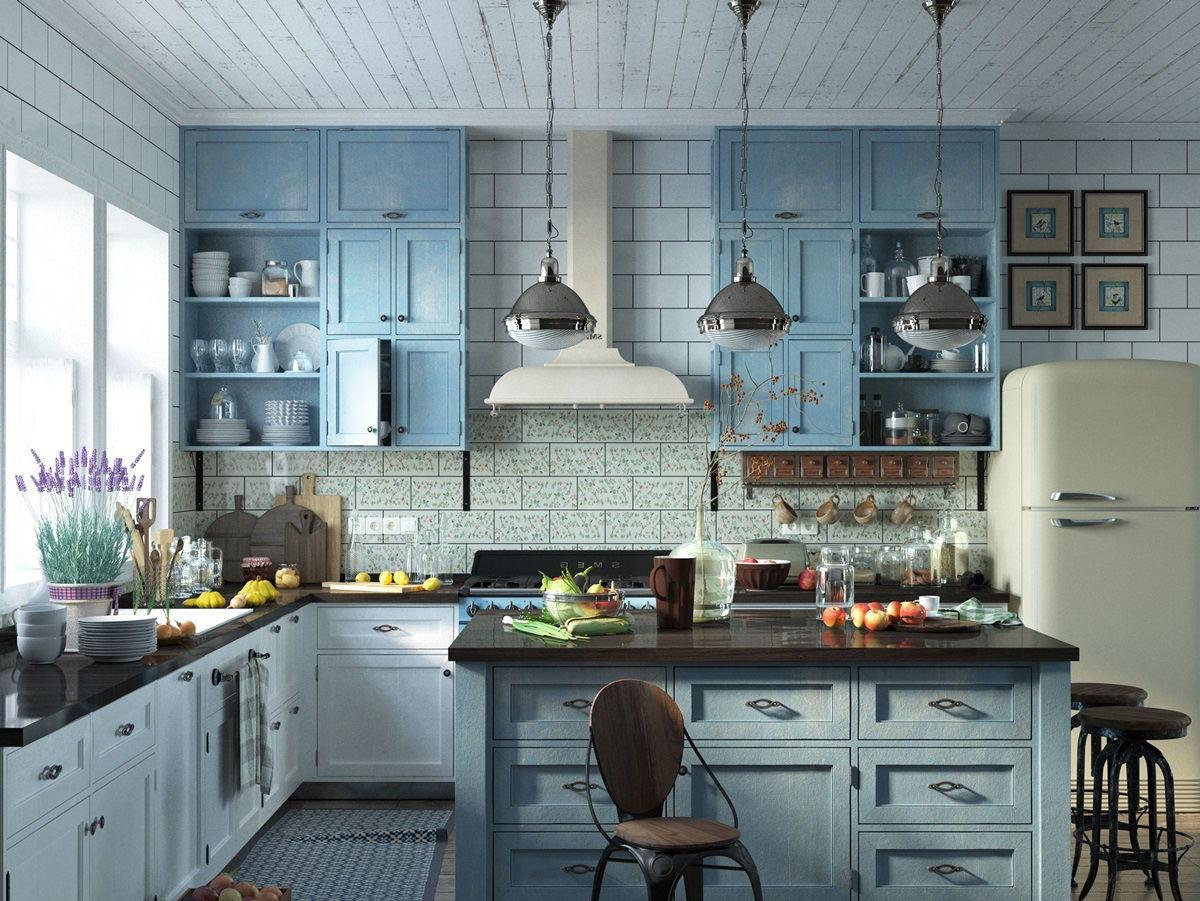 Кухня в стиле прованс в голубом цвете