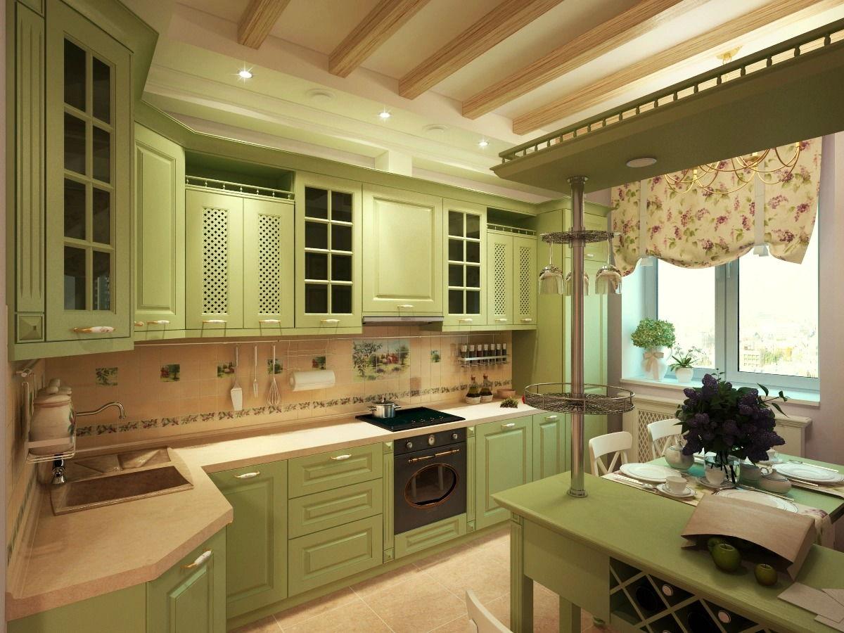 Кухня в стиле прованс в оливковом цвете