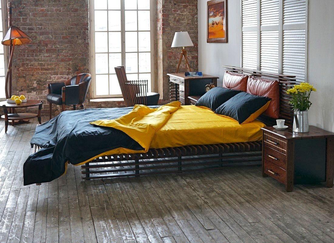 Меблировка спальни в стиле лофт