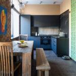 Меблировка узкой кухни в стиле лофт - фото