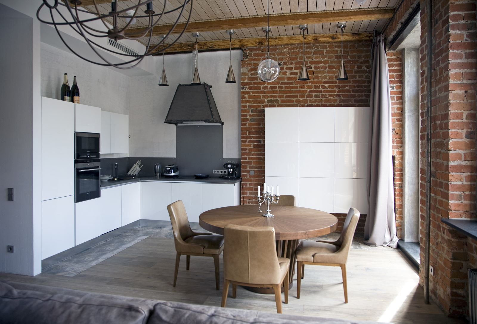Отделка стен на кухне в стиле лофт