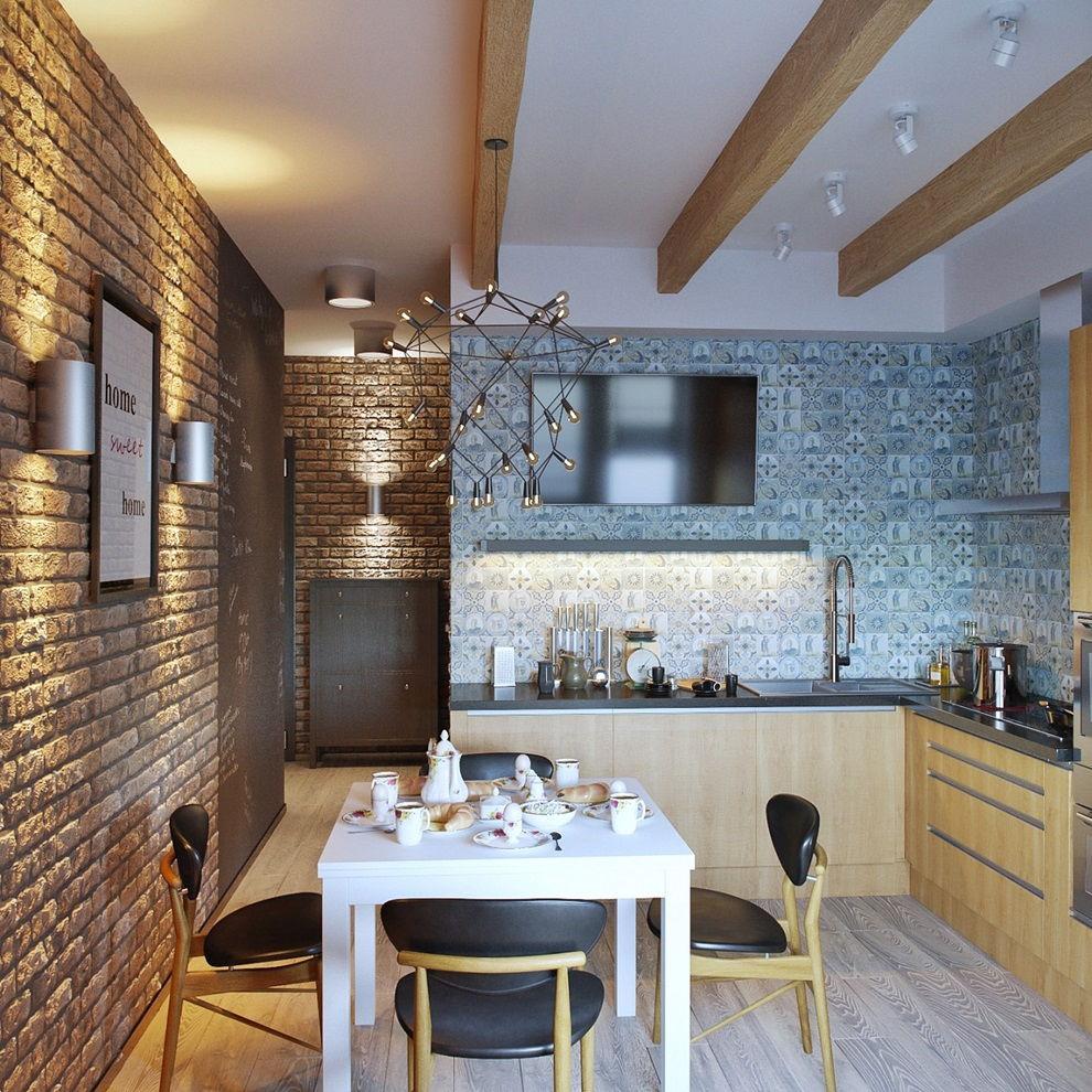 Потолок с деревянными балками на кухне в стиле лофт