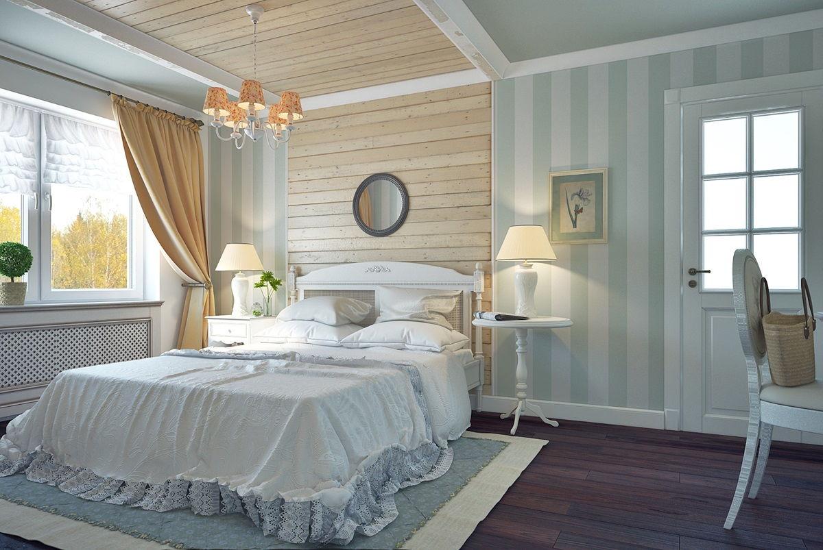 Светлое дерево в отделке стен для спальни в стиле прованс