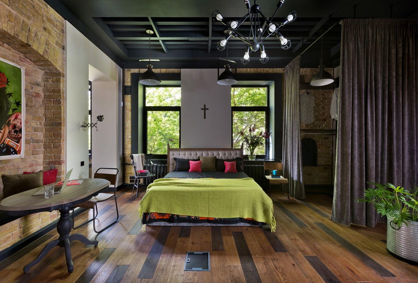 Спальня в стиле лофт - фото (2)