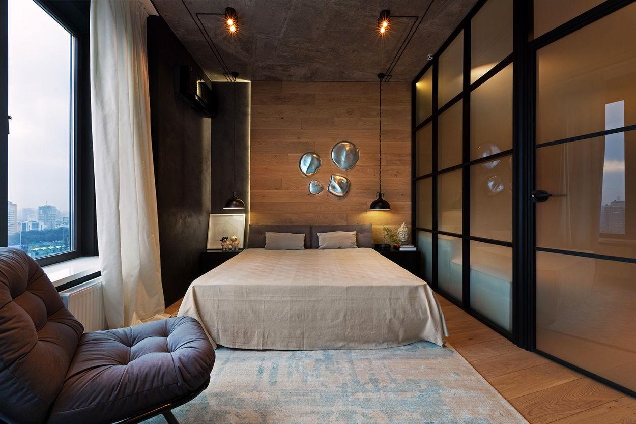 Спальня в стиле лофт - фото