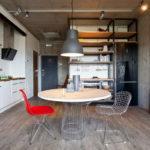 Цветовые акценты на кухне-лофт
