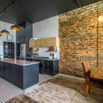 Черный потолок на кухне в стиле лофт