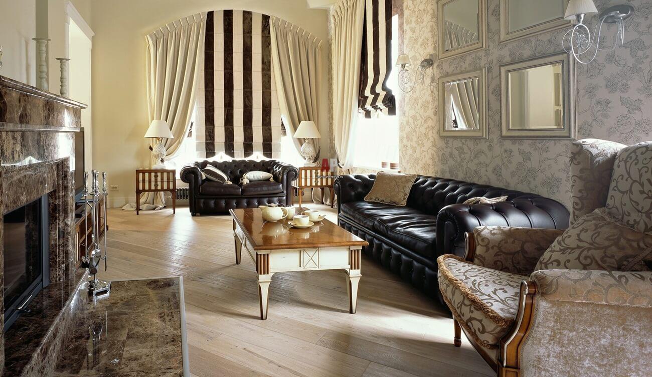 Римские шторы в интерьере гостиной - фото