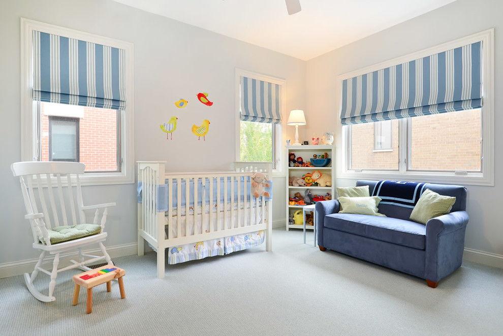 Римские шторы в интерьере детской комнаты - фото