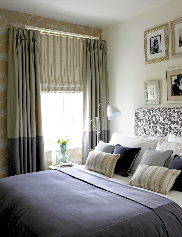 Римские шторы в интерьере спальни - фото