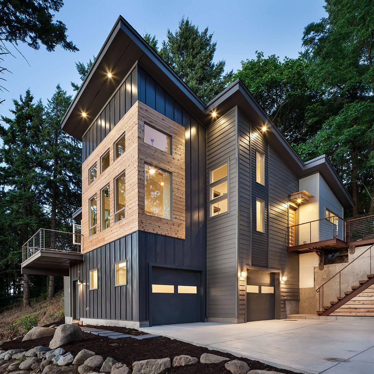 Серый дом в скандинавском стиле