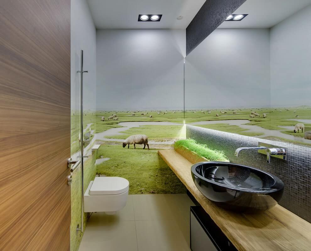 Фотообои в ванной и туалете