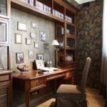 Бумажные обои в интерьере кабинета (10)