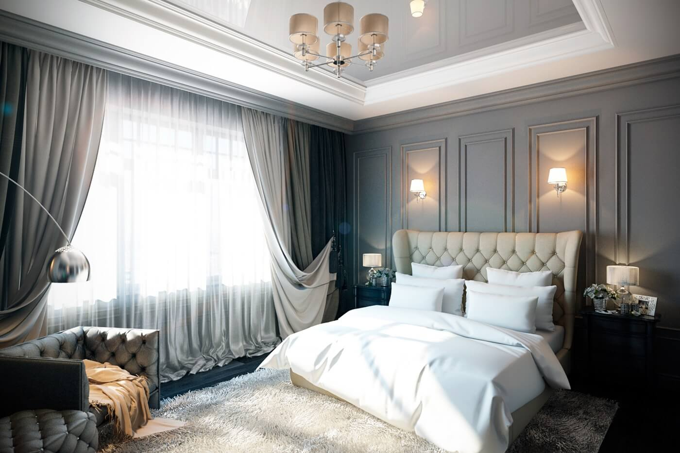 Двухуровневые потолки в интерьере спальни в стиле неоклассика