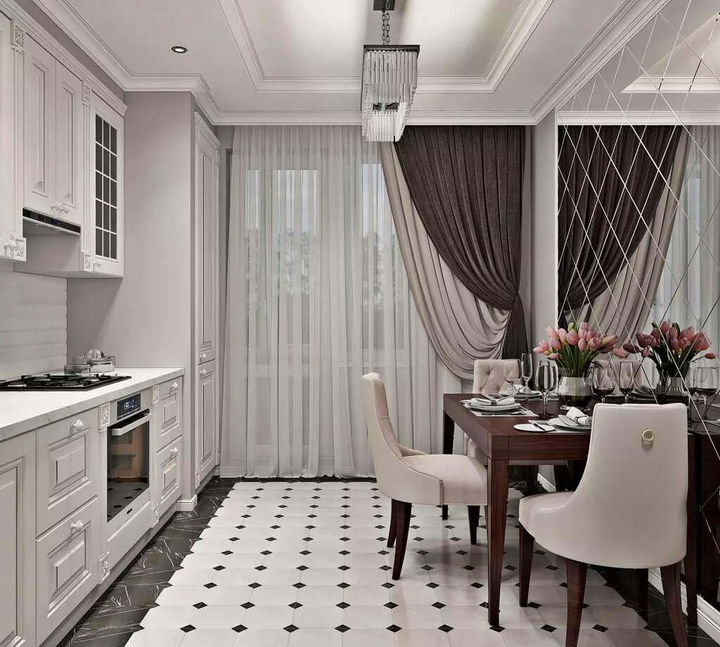 Мебель для небольшой кухни в стиле неоклассика
