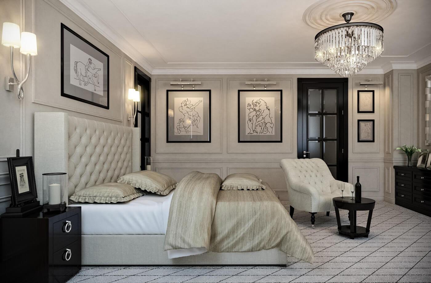 Освещение спальни в стиле неоклассика
