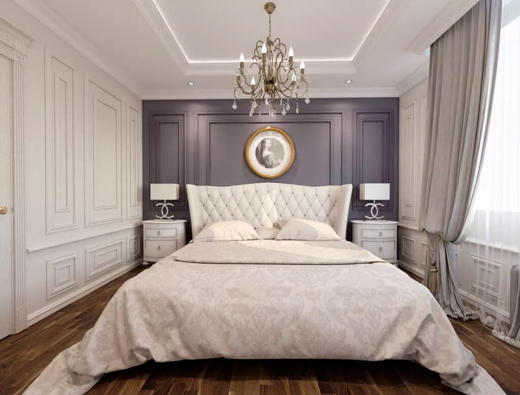 Серый цвет в интерьере неоклассической спальни
