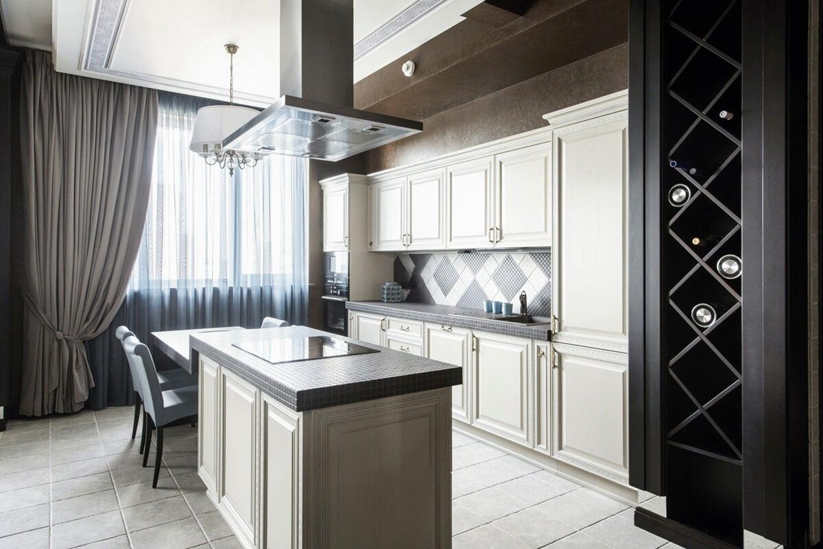 Шторы для кухни в неоклассическом стиле