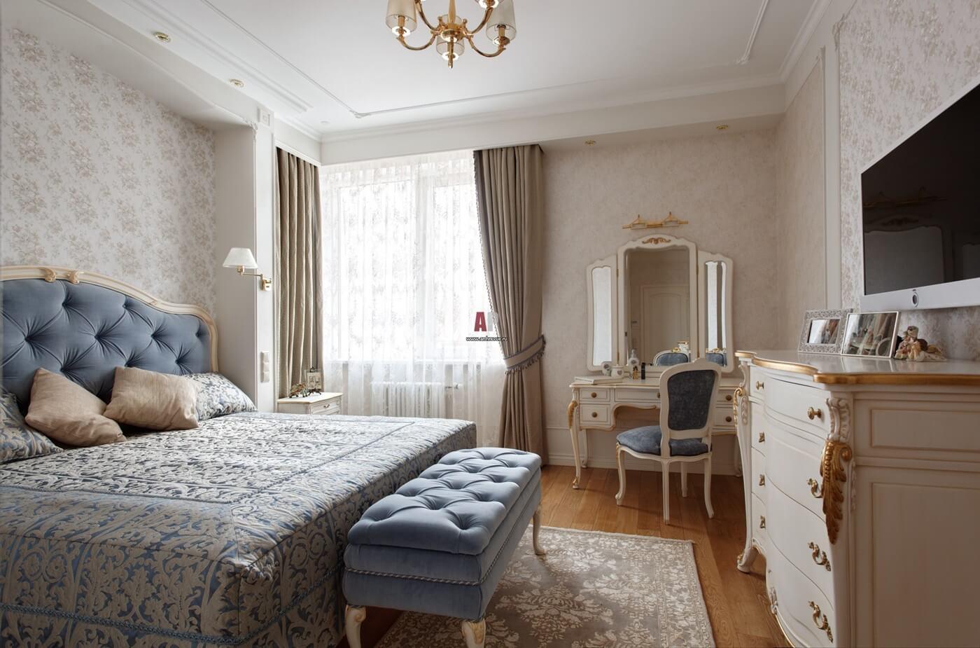 Шторы для спальни в неоклассическом стиле