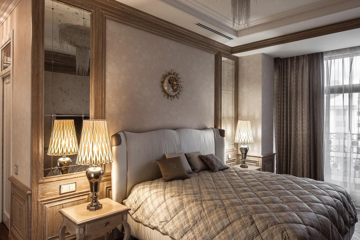 спальня в стиле неоклассика фото интерьер шарик под кожей