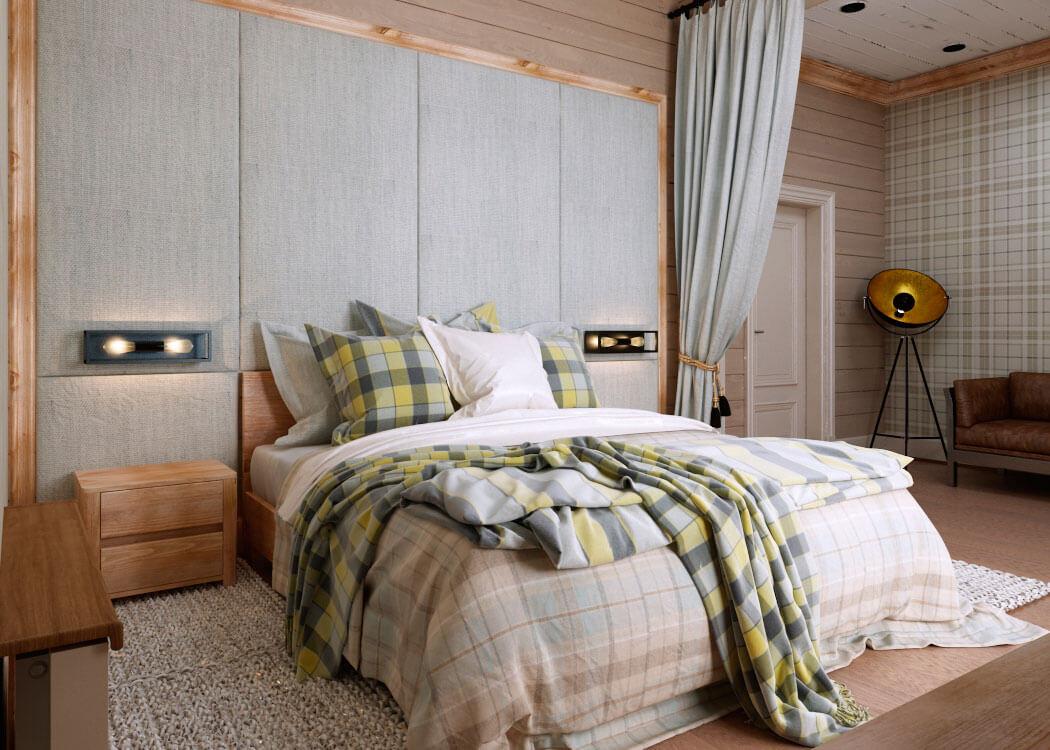 Отделка стен спальни в стиле кантри (2)
