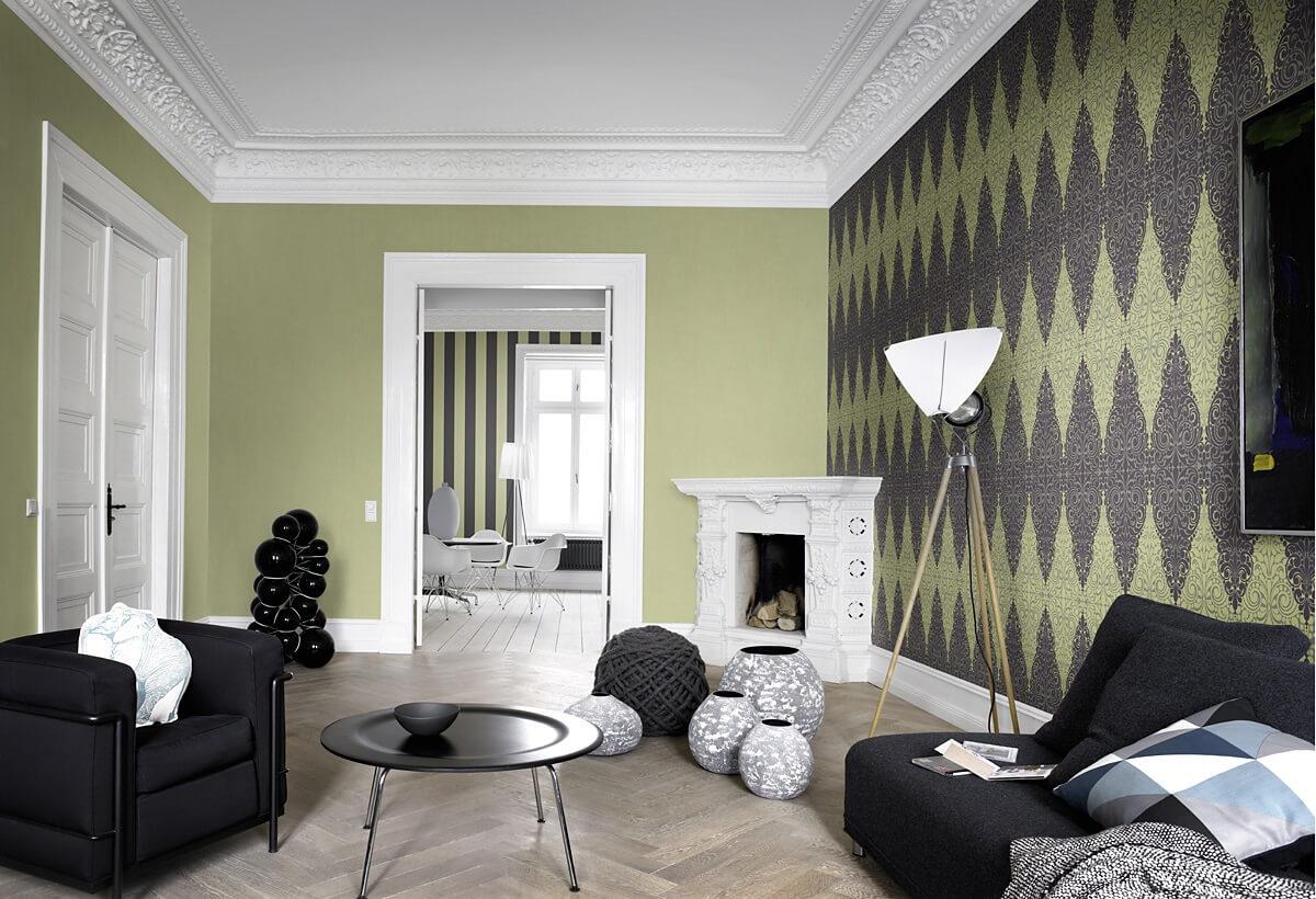 Акцентная стена в интерьере гостиной (5)