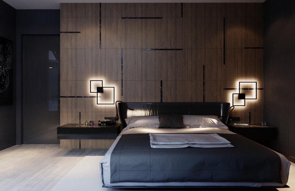 фото простой спальни в стиле хай тек барских перестал подымать