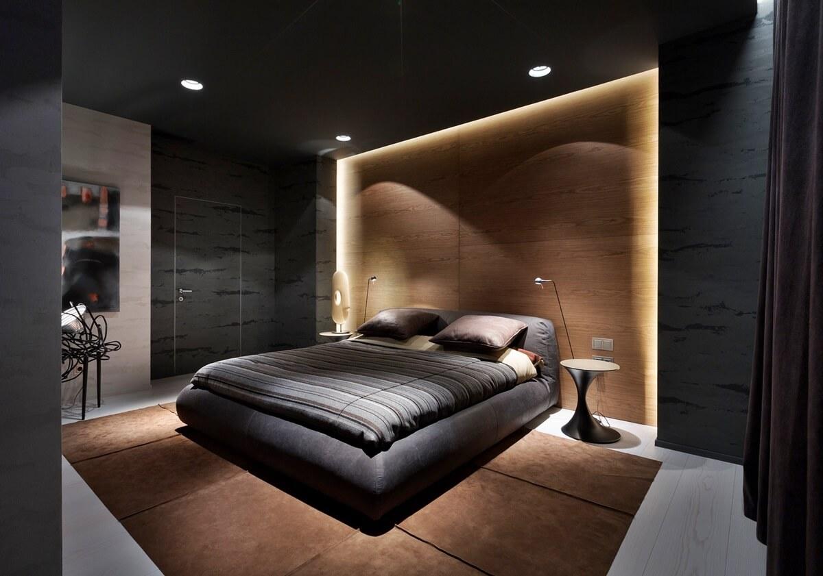 Освещение спальни в стиле хай-тек - фото
