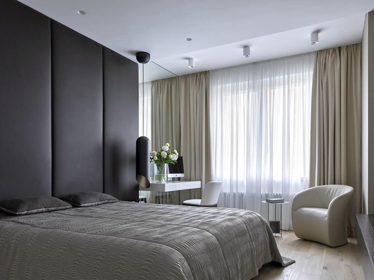 Спальня в стиле хай-тек - отделка потолка