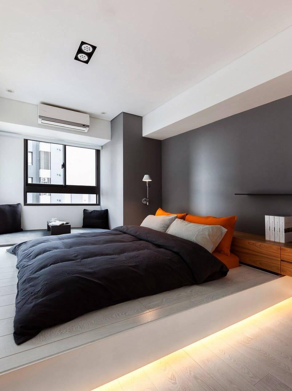 Спальня в стиле хай-тек - отделка стен
