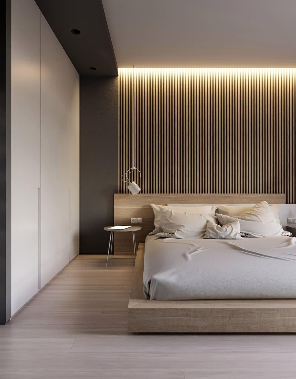 Дизайн спальни в стиле минимализм - фото