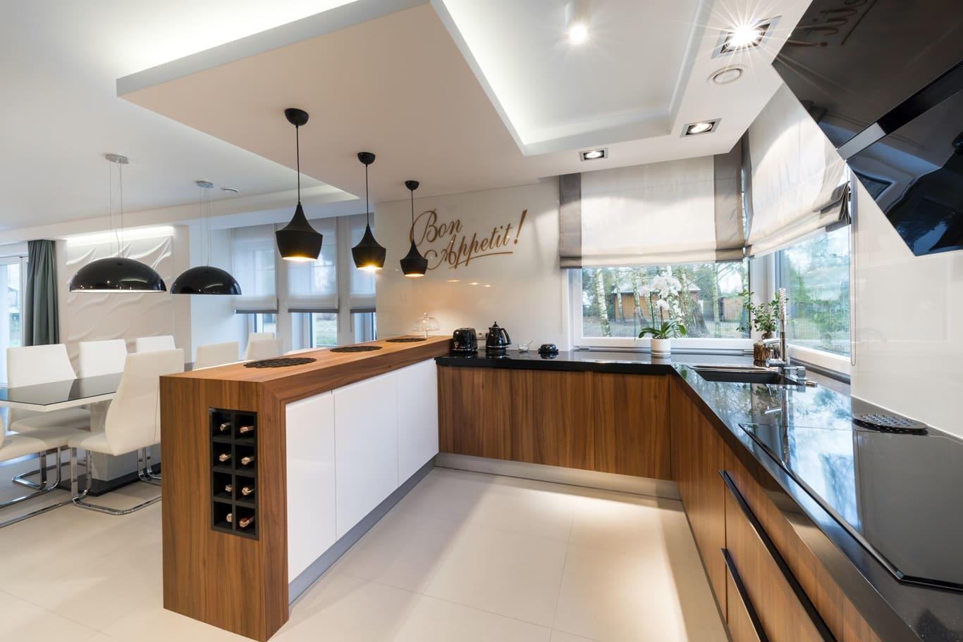 Освещение кухни в стиле минимализм