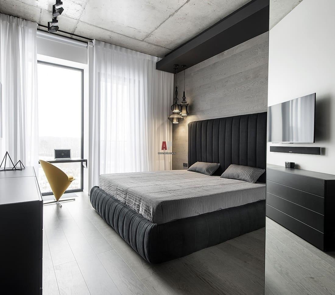 Отделка стен спальни в стиле минимализм