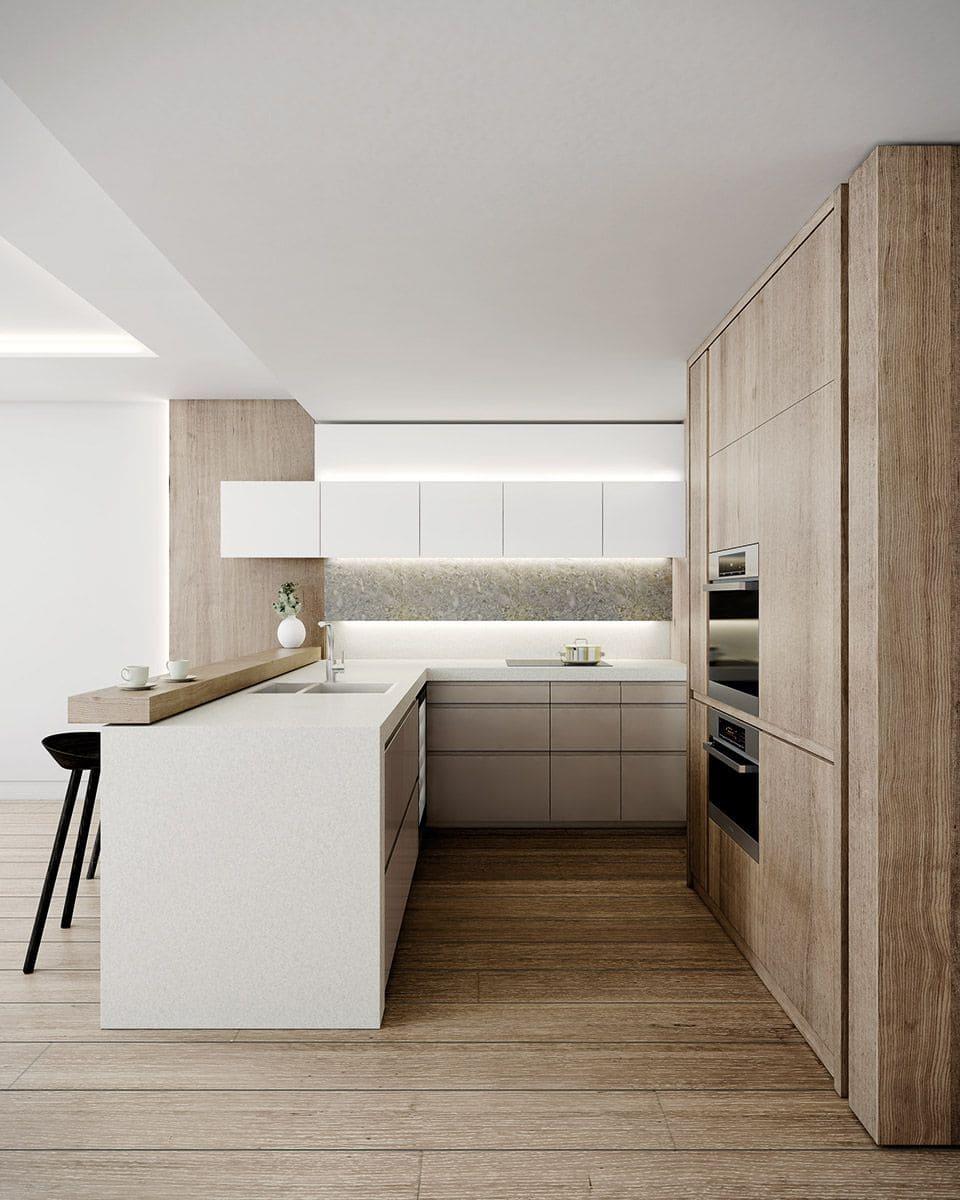 Потолок кухни в стиле минимализм