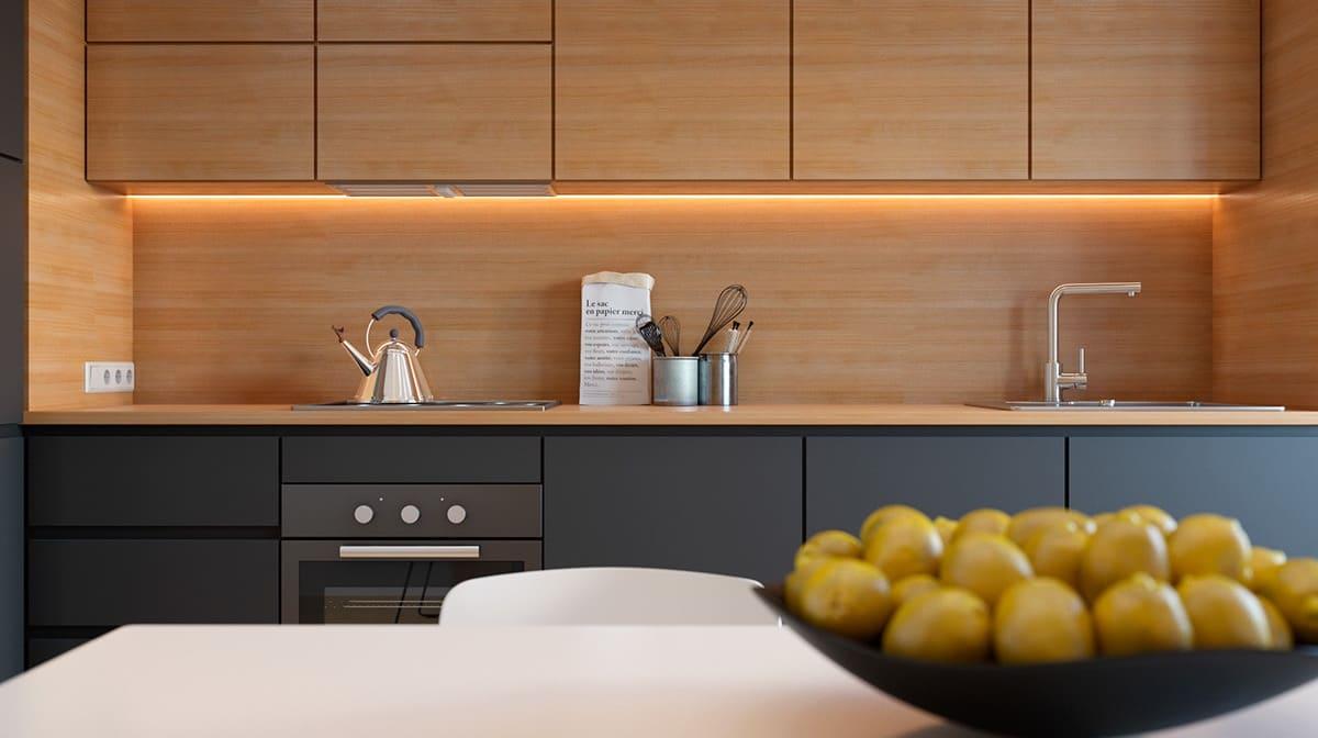 Скрытая подсветка кухни в стиле минимализм