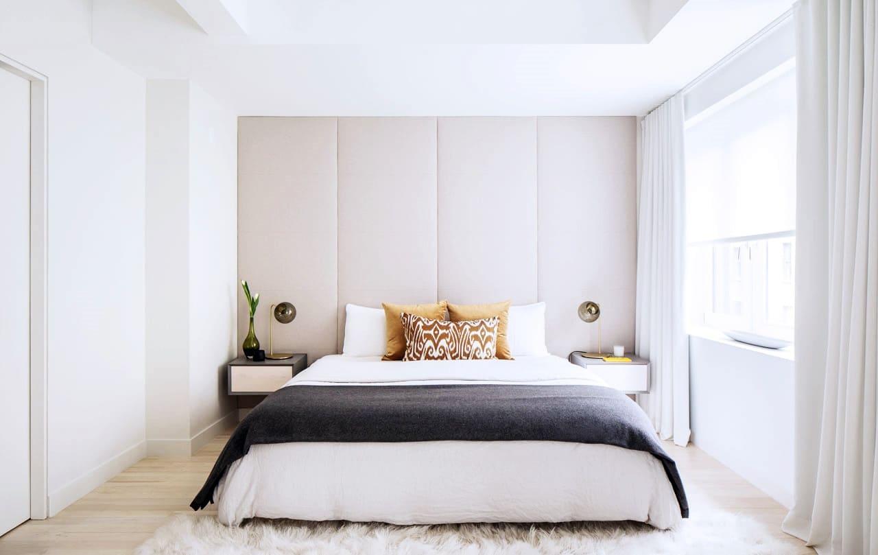 Текстильное оформление спальни в стиле минимализм