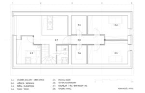 Дом облицованный камнем - план второго этажа