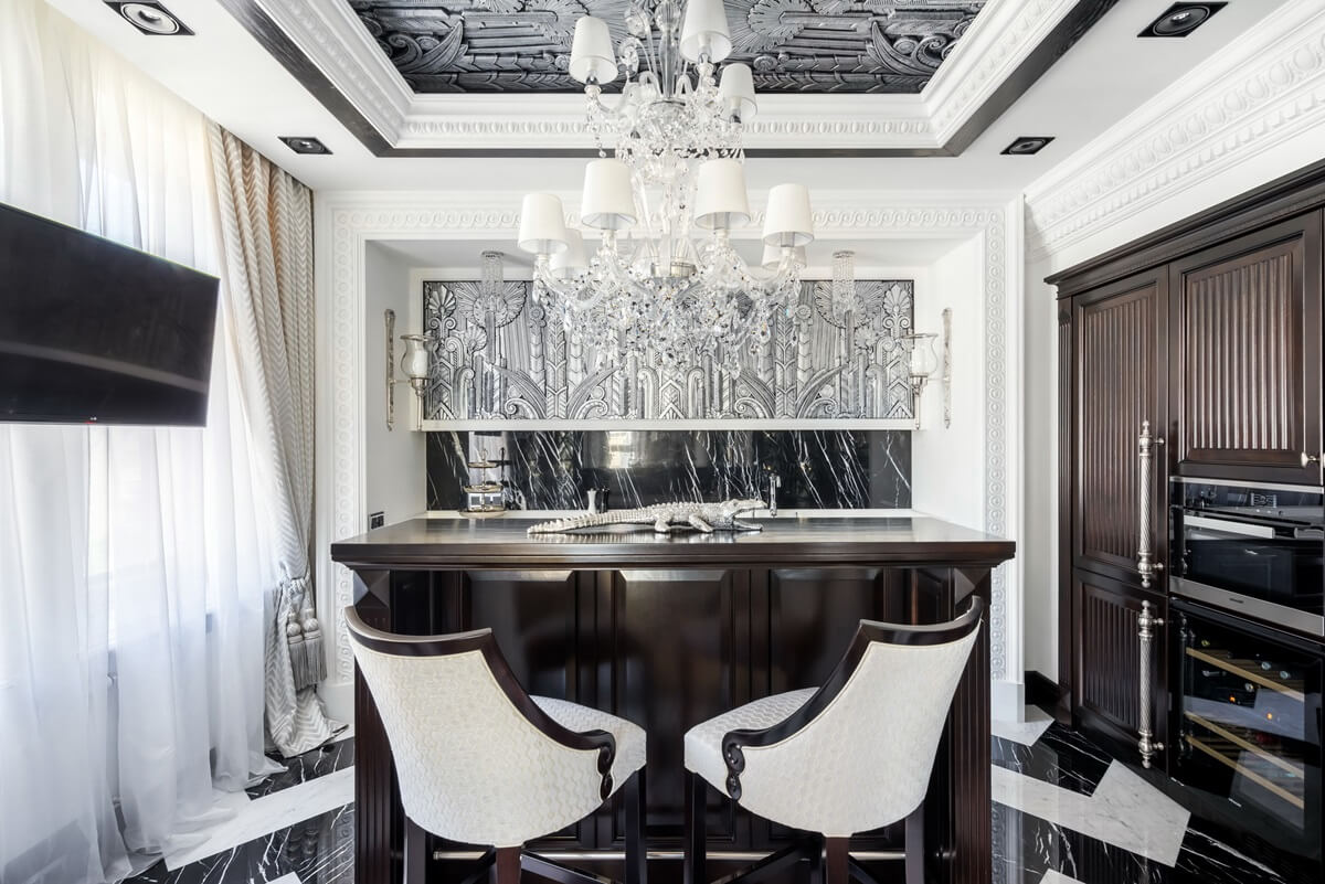 Потолок кухни в стиле арт-деко